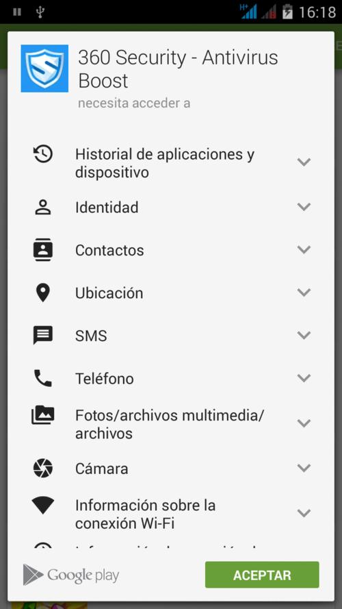 Permisos para la app 360 Security